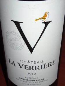Chateau la Verriere Sauvignon Blanc2012